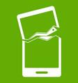 broken phone icon green vector image vector image