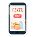 cake online ordering application with menu poster vector image