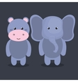 cartoon animal elephant hippo plush stuffed design vector image