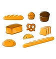 Cartoon bakery products for baker shop design vector image vector image