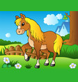 cartoon horse on spring meadow vector image