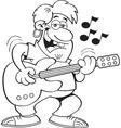 Cartoon man playing a guitar vector image