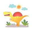 cartoon spinosaurus dinosaur vector image vector image