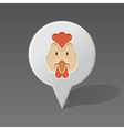 Chicken pin map icon Animal head vector image
