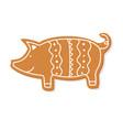 christmas gingerbread cookie figure pig vector image