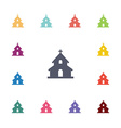 church flat icons set vector image