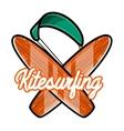 Color vintage kitesurfing emblem vector image vector image