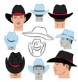 cowboy hat template and man head vector image vector image