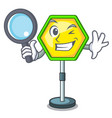 detective cartoon traffic sign on traffic road vector image