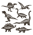 Dinosaurs Silhouettes With Lettering vector image vector image