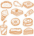 doodle of food and drink style vector image vector image