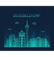 Dusseldorf skyline linear vector image vector image