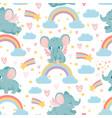 elephants on rainbow seamless pattern magic vector image