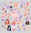 feminist and cute girl power sticker vector image