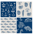 Fish and Marine Background Set vector image vector image
