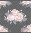 floral seamless pattern roses with leaves on grey vector image vector image