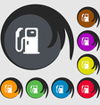 Fuel icon sign Symbols on eight colored buttons vector image vector image