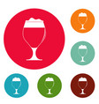 glass of beer icons circle set vector image vector image