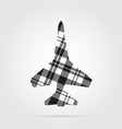grayscale tartan isolated icon - fighter vector image vector image