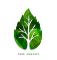 green tree leaf concept symbol for nature care vector image