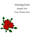 Greeting card with red roses vector image vector image