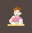 kid boy eat vector image