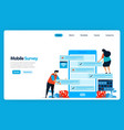 landing page design for online survey and exam vector image vector image