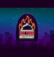 logo of hot food restaurant neon sign logo vector image