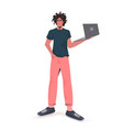 man holding laptop guy model in trendy clothes vector image vector image