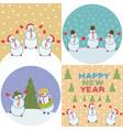 merry happy snowmen vector image vector image