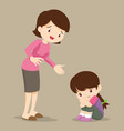 mother comforting sad girl grieving vector image vector image