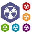 Nuclear rhombus icons vector image vector image