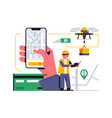 online home delivery service a drone delivering vector image