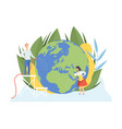 people watering earth planet with watering can and vector image vector image