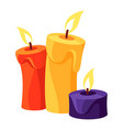 red yellow violet burning candles with melted vector image