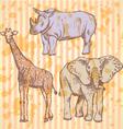 Rhino Elephant Geraffe vector image