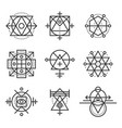 sacred geometry elements and hipster symbols set vector image vector image
