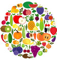 set of fruits and vegetables organic food icons vector image