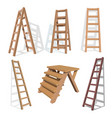 set stairs wooden staircase on a white vector image vector image