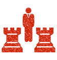 Strategy chess towers grunge icon vector image