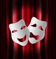 Theater masks with red curtain vector image vector image