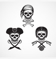three variations skull and crossbones and skull vector image vector image