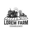 tractor emblem farmers market design element vector image vector image