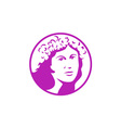 Woman Crown of Flowers Circle Retro vector image vector image