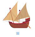 wooden ship with sails and oars 13 century boat vector image vector image