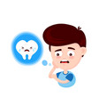 young cute sad man with a toothache vector image vector image