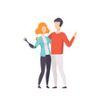 young woman with artificial arm and her boyfriend vector image vector image