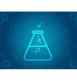 Abstract molecules background with flask icon vector image