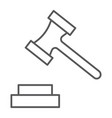 auction thin line icon justice and law hammer vector image