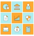 Bank finance linear icons set vector image
